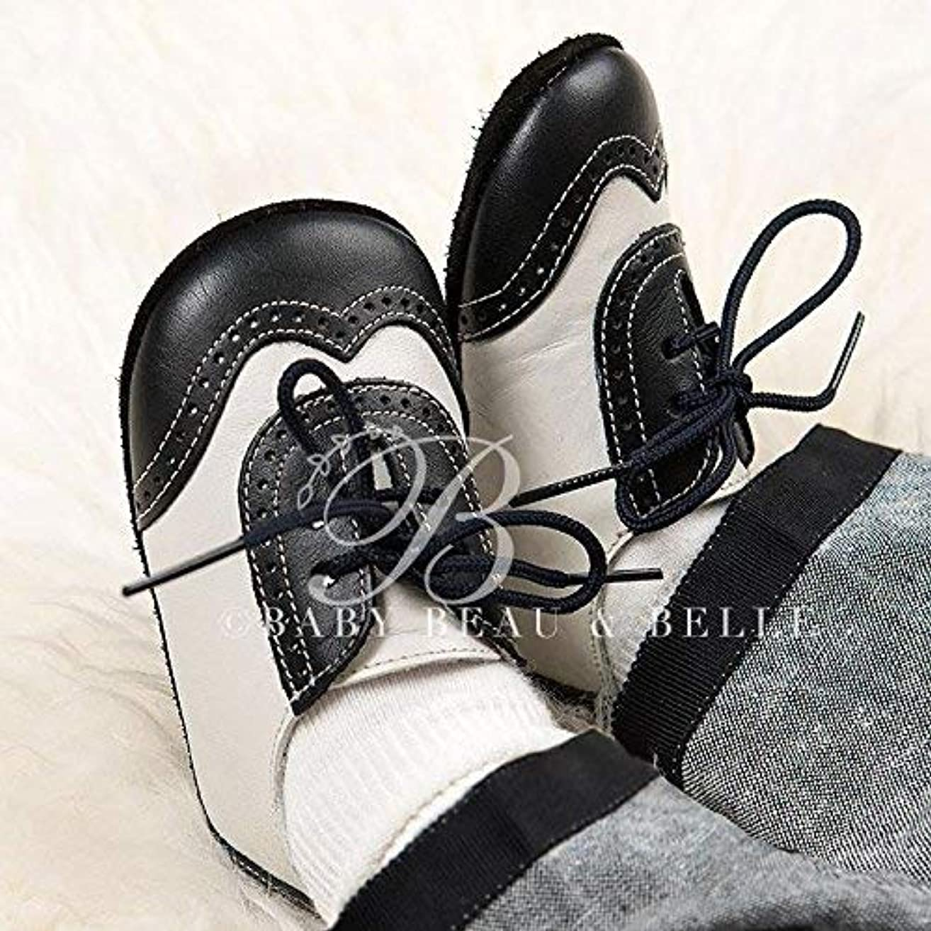 Baby Boy Wingtip Shoes - Black and Ivory baby shoes