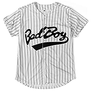 Bad Boy 10 Baseball Jersey, 90s Hip Hop Men Clothing for Birthday Party, Club and Pub Dress Stripe S