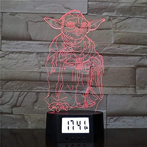 PKLFQQA Réveil Lumière Magique LED Gradient Touch Coloré Veilleuse 3D Acrylique Exquis Mode Mignon Horloge Base Lampe de Table Star Wars Motif Atmosphère