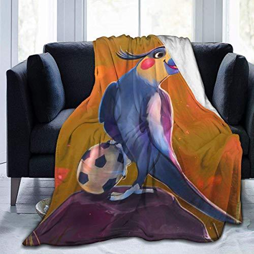Popcorn In Spring Papagei Spielen Fußball Flanell Plüsch Soft Throw Decke Schwarz Super Soft Cosy Bettdecke Mikrofaser