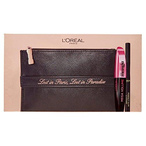 L'Oréal Paris MakeUp Cofanetto Idea Regalo Make Up Lost in Paradise, Pochette con Mascara Miss Manga e Eyeliner Perfect Slim, Nero