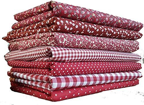 SonneSky 7 pz 50 x 50 cm Tessuto in Cotone Stampato con Motivo Patchwork Fai da Te per Il Cucito Tessuto Cotone Tessuto Quadrati di Cotone Tessuti Stampati da Cucito Stoffa Vino Rosso