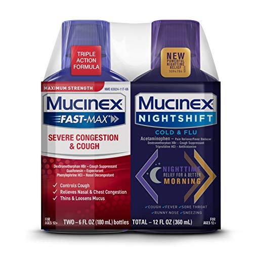 Mucinex Maximum Strength MUCINEX Fast-Max Severe Congestion & Cough & MUCINEX Nightshift Cold & Flu Liquid (2 x 6 fl. oz.) Multi-Symptom Relief