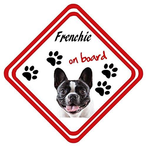 Frenchie On Board - Señal de metal para ventana de coche, personalizable