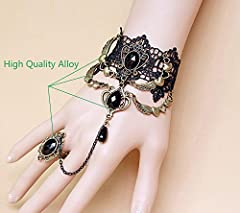 Jurxy Lace Choker Necklace with Bracelet Set Punk Party Gothic Vintage Handmade Lolita Retro Slave Victorian Vampire Punk Pendant Necklace Bracelet Wristband for Women Black- Style 2 #1