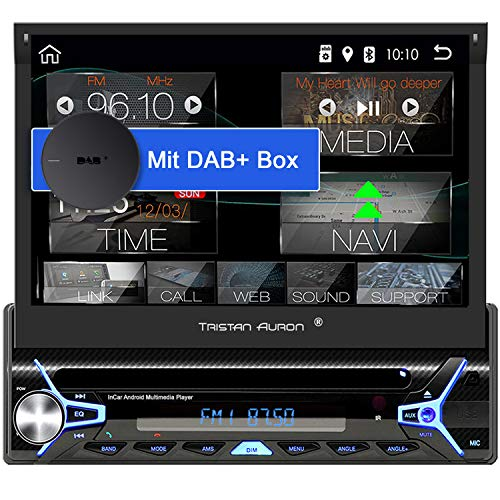 Tristan Auron BT1D7022A Android 10.0 Autoradio + DAB+ Box I 7'' Touchscreen ausfahrbar I CD DVD GPS Navi 32GB Bluetooth Freisprecheinrichtung I USB SD DAB Plus I 1 DIN