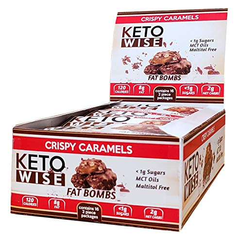 Keto Wise Fat Bombs Crispy Caramel, 16Count Box, 18 Ounce , Crispy Caramels, 18 Ounce from AmazonUs/HXMCL