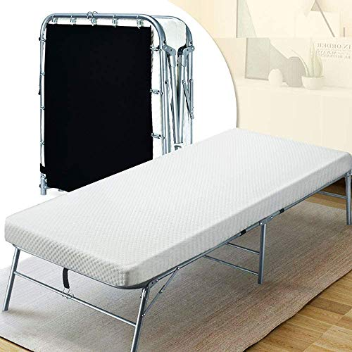 Quictent Heavy Duty Folding Bed with 2 Extra Support Belts, 300 lbs Max Weight Capacity, Guest Bed with 3D Stretch Knit Material Cover Mattress and Storage Bag