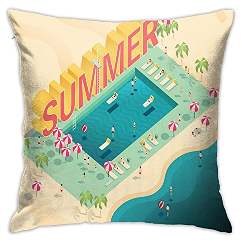 qidong Fundas de cojín decorativas con texto isométrico en verano y en la piscina, diversión en la sombrilla, funda de almohada para el hogar, sofá, dormitorio, 18 '18
