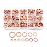 SODIAL 280pzs Juego de junta arandela de cobre clasificado profesional Kit de surtido de sellos de anillo plano M5-M20 con caja para accesorios de hardware