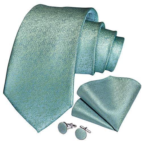 GPZFLGYN Corbata para hombre, verde azulado, azul, verde, 100% de seda, corbata para hombre, pañuelo, anillo de corbata, accesorios de boda, corbatas, regalo para hombres
