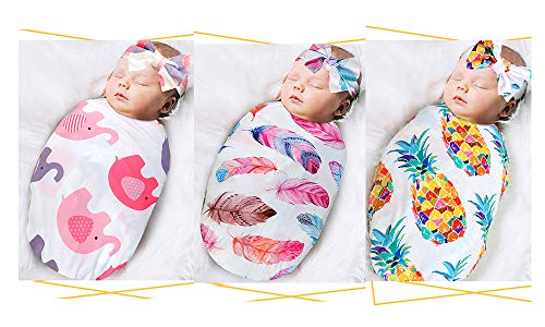 Newborn Receiving Blanket Headband Set - Unisex Soft Baby Swaddle Girl Boy Gifts (Feather+Pinapple+Feather)