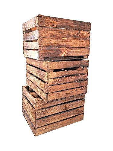 Set di scatole in legno bruciato: Cassette per la frutta in stile vintage, per la costruzione di mobili o come decorazione, dimensioni 50 x 40 x 30 cm