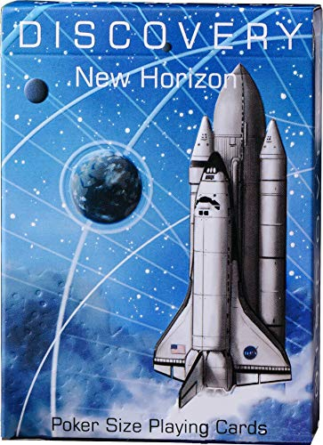 Discovery Blue Playing Cards, Space Themed Deck of Cards with Astronaut Designs, Premium Card Deck with Free Card Game eBook, Cool Poker Cards, Gift for Kids & Adults, Red Blue Color, Standard Size