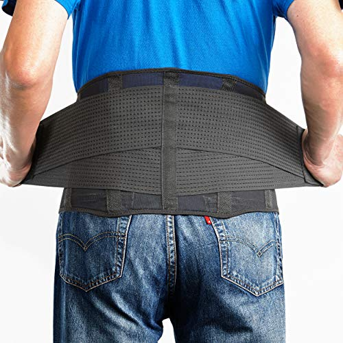 OMAX Lumbar Back Brace - Adjustable Trainer Straps for Lower Back Core Support Belt - Immediate Back Waist Pain Relief, Theraputic Sciatica Breathable Mesh Design Extra Compression for Men and Ladies