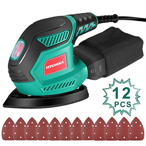 Mouse Detail Sander, HYCHIKA 200W 14000OPM Detail Sander with Efficient Dust Collection System, 12PCS Sandpapers, Hand Sanders for Woodworking Tight Space Sanding Home Decoration DIY Tools