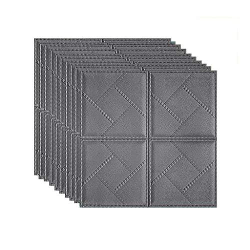 Papel Tapiz 3D DIY imitación azulejos 3d papel tapiz impermeable espuma paneles de pared sala de estar cocina baño baño tallado estéreo simulación ladrillo 70 * 70 cm pegatina de pared oscura color