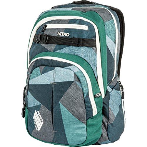 Nitro Chase Rucksack, Schulrucksack mit Organizer, Schoolbag, Daypack mit 17 Zoll Laptopfach,  Fragments Green