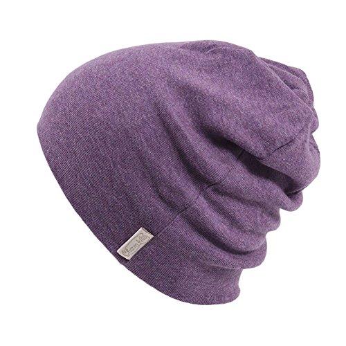 CHARM Toddler Organic Beanie Boys - Slouchy Cotton Kids Warm Knit Hat Girls Purple