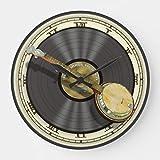 "Classic Wood Clock, Non Ticking Clock 12"" Bluegrass Banjo Wall Wooden Decorative Round"