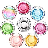 8 Pieces Crystal Round Lash Box Empty Clear False Eyelashes Storage Case Plastic Eyelash Packaging Box with Glitter Color Card for Women Girls (Multi-Colored)