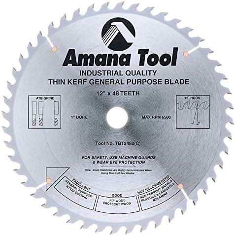 "discount Amana Tool - online sale TB12480 Carbide Tipped Thin Kerf General Purpose 12"" Dia x 48T outlet sale ATB, 15 De sale"