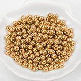 (6mm / Gold) Perlen/Bastelperlen - 30 Farben mit Loch zum basteln Traumfänger Wachsperlen Kreuz Zubehör Deko Mix Set groß und klein fädeln Armband Schlüsselanhänger Acryl bunt Schmuck
