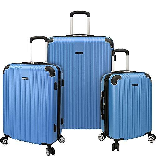 Traveler's Choice Charvi 3pc Expandable Hardside Spinner Luggage Set Aqua Blue