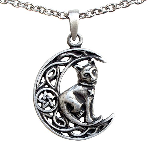 Cat Jewelry Celtic Crescent Moon Star Pentacle Pentagram Magic Wiccan Wicca Pagan Witch Witchcraft Protection Amulet Men's Pewter Pendant Necklace Lucky Good luck Charm Talisman Stainless Steel Chain