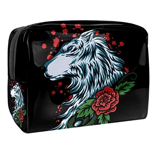 Luggage Cosmetic Cases Wolf Art Rose Flower Portable Travel Makeup Cosmetic Bags Organizer Multifunction Case Toiletry Bags for Women 7.3x3x5.1in