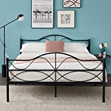 VECELO Classic Metal Bed Frame with Headboard and Footboard, No Box Spring Needed/Mattress Foundation/Heavy Duty,Queen Size-Black