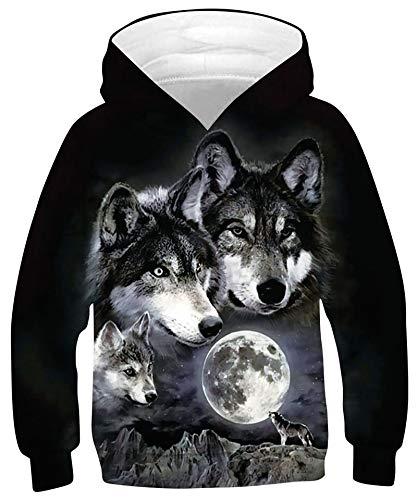 Goodstoworld 3D Wolves Druck Hoodie Mädchen Jungs Kapuzenpullover Langarm Sweatshirt Pullover Bunte Kapuzenpullis Freizeitkleidung Sweater 14-16 Jahre