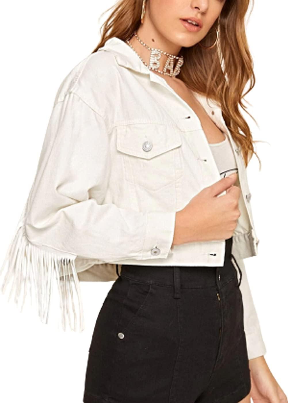 WanXingLiHe Women's Fringe Frayed Short Denim Jacket, Lapel Loose Fashion Casual Outerwear Jacket Jean,White,S