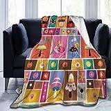KOSALAER Bedding Manta,Caracol de Dibujos Animados en Rompecabezas de Setas,Mantas cálidas de Sala de Estar/Dormitorio Ultra Suaves para Todas Las Estaciones