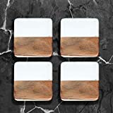 Crocon Marble & Wood Coaster Set Square Shape Coaster for Dining Table Kitchen Decor Office Party Cocktail Coffee and Drink Coasters Suitable and Kinds of Mugs and Cups Size:- (10 X 10 X 1.7 cm)