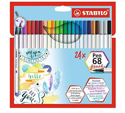 Caneta Stabilo Pen 68 Brush, Multicor, Estojo com 24 unidades