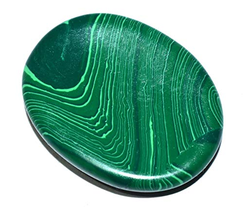 Healings4u Worry Stone Malachite Two (2) Pieces Size - Length 35-40mm Width 25-30mm Pocket Crystal Natural Healing Palm Thumb Gemstone