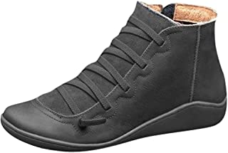 Arch Support Boots,Women Low Heels Casual Short Ankle Boots Everyday Waterproof Boots