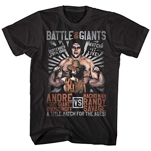 Andre The Giant V Macho Man Randy Savage Men's T Shirt Title Match Wrestling Top