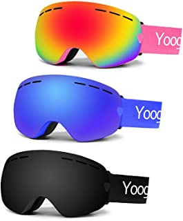 Ski Huntiger Snowboard Goggles Double Lens Anti-Slip Strap Anti-Fog UV Protection Skating Goggles with Detachable Lens & Strap for Women Men Kids (Black)