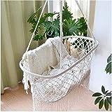 CLX Cradle Hammock Soothing Baby Sleeping Hanging Rocking Crib Cradle Hammock Baby Cradle Swing (White)