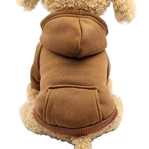 Fashion Focus On New Winter Dog Hoodie Sweatshirts with Pockets Cotton Warm Dog Clothes for Small Dogs Chihuahua Coat Clothing Puppy Cat Custume (Coffee, XX-Small)