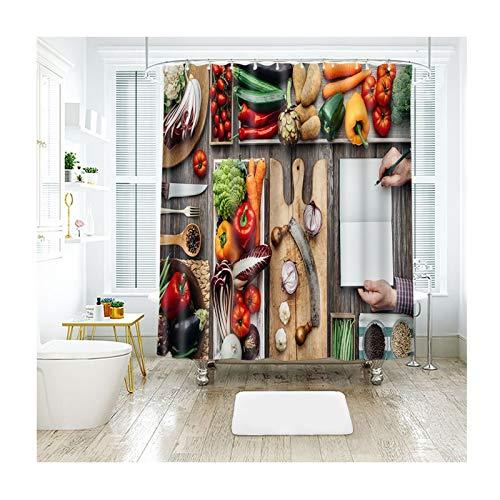 Rubyia Duschvorhang 180x200, Gemüse & Obst 3D Motiv Duschvorhang Antischimmel mit Duschvorhangringen, Polyester