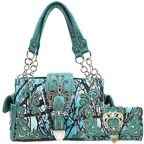 Zelris Camouflage Shine Glow Buckle Women Conceal Carry Handbag with Wallet Set (Teal)