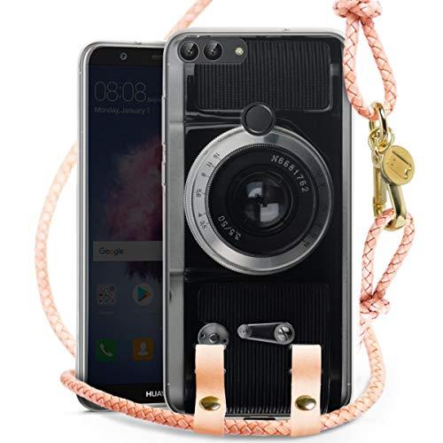 DeinDesign Carry Case kompatibel mit Huawei Honor 9 Lite Hülle mit Kordel aus Leder Handykette zum...