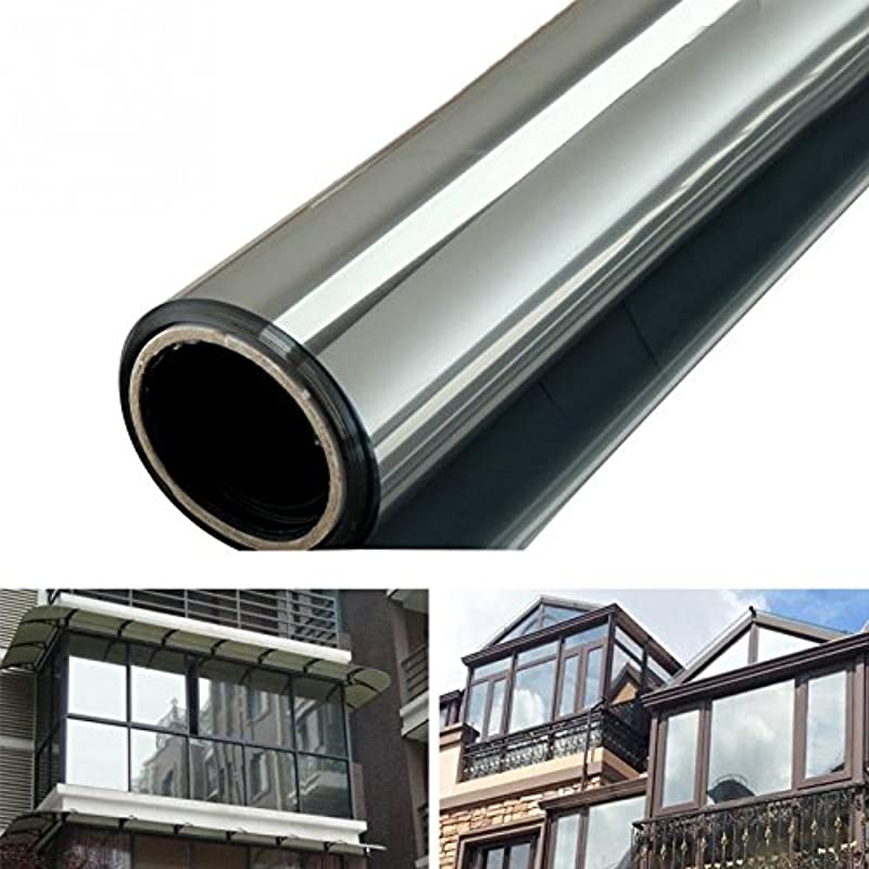 W5bhj88 Window Film Solar Reflective One Way Mirror Film Daytime Privacy Static Non Adhesive Decorative Heat Control Anti UV Window Tint Glass Sticker For Home And Office 50x500CM Black And Silver