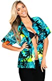 LA LEELA Women's Summer Hawaiian Blouse Shirt Beachwear Aloha Shirt S Teal_X55
