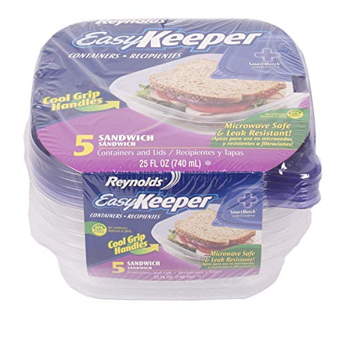 Reynolds Easy Keeper Food Containers Range with Lids Included BPA Free Easy Keeper Food Containers Range with Lids Included BPA Free (Reynolds Sandwich Containers 5pk)