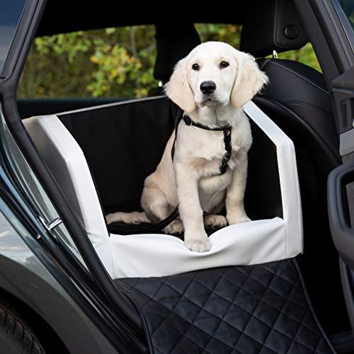 CopcoPet Rücksitz Vordersitz Hundeautositz Autohundebett Hundebett Transportbett Autoschondecke (55 x 70 x 38 cm Orthopädisch, Weiß-Schwarz)