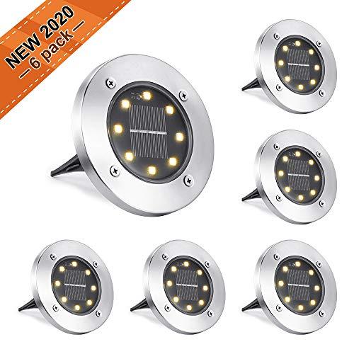 NEXVIN Solar Bodenleuchte Aussen, 6 Stück 8 LEDs Solarleuchte Warmweiß Wasserdicht für Außen Garten Deko